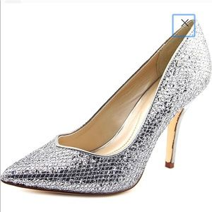 Silver Pointy Toe Shoes, Size 5
